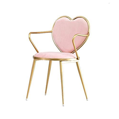Herzform Sessel, Nordic Kreative Romantische Eisen Esszimmerstuhl Einfache Sessel Mode Stuhl Lounge Stuhl Makeup Hocker Kleine Rückenlehne Schmiedeeisen Stuhl,A