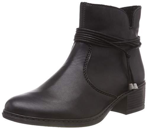 Rieker Damen Stiefeletten 77658, Frauen Klassische Stiefeletten, Freizeit leger Stiefel Boot halbstiefel Bootie reißverschluss,schwarz,40 EU / 6.5 UK