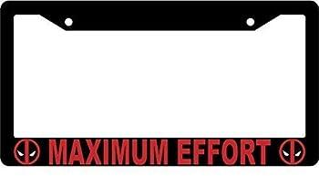 BIN SHANG Maximum Effort Black Metal License Plate Frame Deadpool