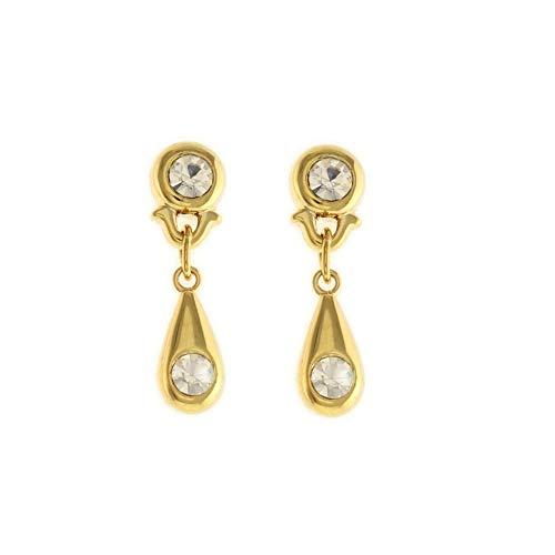 behave® Mujer Pendientes Elegantes con Piedras de Cristal Hecho de Metal Base - Color Dorado - 3cm tamaño