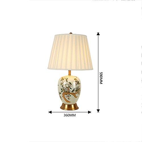 XIANGDONG Lámpara de Mesa salón Escritorio de cerámica Lámparas de Oro pájaros creativos Dormitorio de Noche tapicería Tabla E27