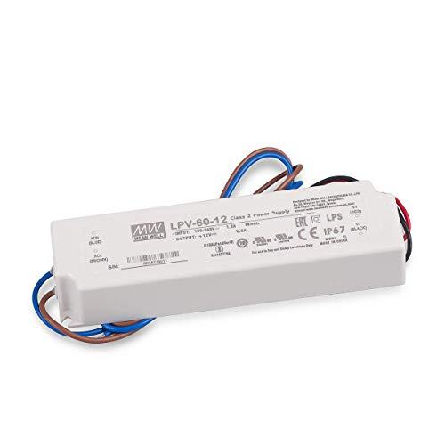 LED Netzteil Trafo Mean Well LPV-60-12 Schaltnetzteil, 12V / 5A / 60W IP67 LED Transformator für LED Beleuchtung