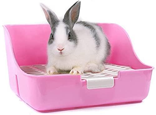 SMELL & SMILE Arenero de plástico de Conejo para Mascotas Entrenador de Orinal fácil de Limpiar esquineras Conejos Color Aleatorio (SOY0091)