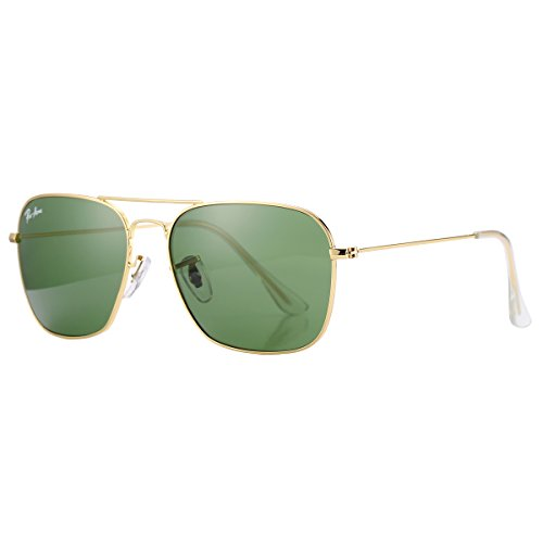 Pro Acme PA3136 Crystal Lens Square Sunglasses (Gold Frame/Crystal G15 Lens)