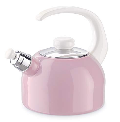 Generisch Riess 0543-117, hervidor de silbato Plus 2L, rosa/multicolor pastel, acero esmaltado, rosa, 1,179 kg, 2 litros, 25,5 x 18 x 21,7 cm