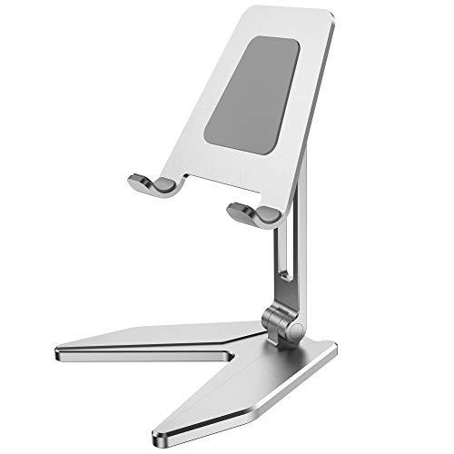 Migeec Base de Soporte para teléfono de Escritorio Ajustable de Aluminio con Base Antideslizante y Puerto de Carga para iPhone Samsung - Plata