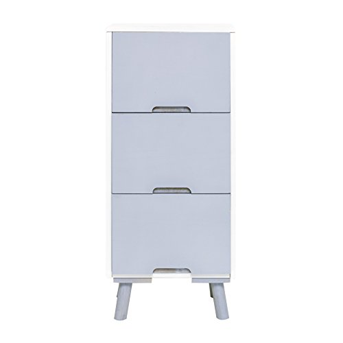 Rebecca Mobili nachtkastje houten dressoir wit grijs 3 lades woonkamer slaapkamer (kabeljauw. RE4997)