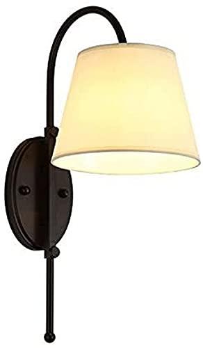 QHCS Aplique de Pared 1 luz Hierro Americano Dormitorio de Metal Lámpara de Pared de Noche Fondo de TV Simple Tela Iluminación de Pared Aplique de Pared para Pasillo Creativo Escalera Habitacione