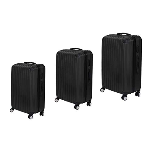 Luggage Set of 3, Lightweight 4 Spinner Wheels ABS Hard Shell Travel Trolley, Suitcase Trolley Set, with Number Lock, 55/63/75cm, Black Color