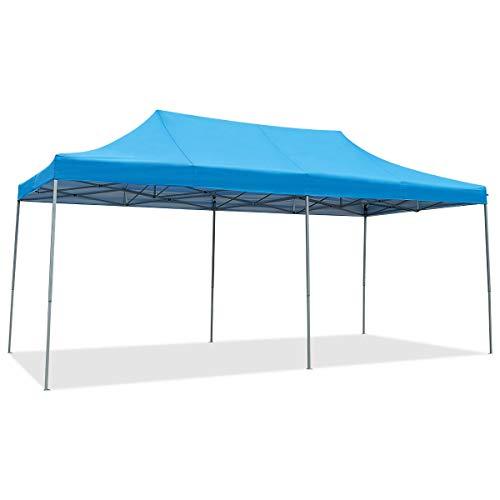 COSTWAY Carpa Plegable 6 x 3 Metros Pabellón de Jardín Altura Ajustable con Bolsa de Transporte Tienda de Campaña para Fiesta Boda Camping (Azul)