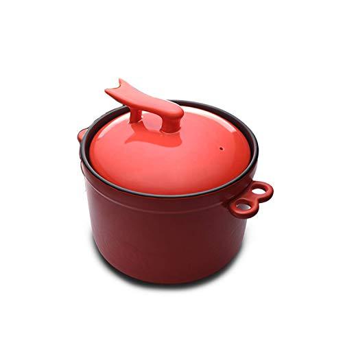 LIUSHI Casserole Rouge, cocotte en céramique avec Couvercle, poêle antiadhésive au spodumène cuit à Hautes températures avec poignée 4.5L