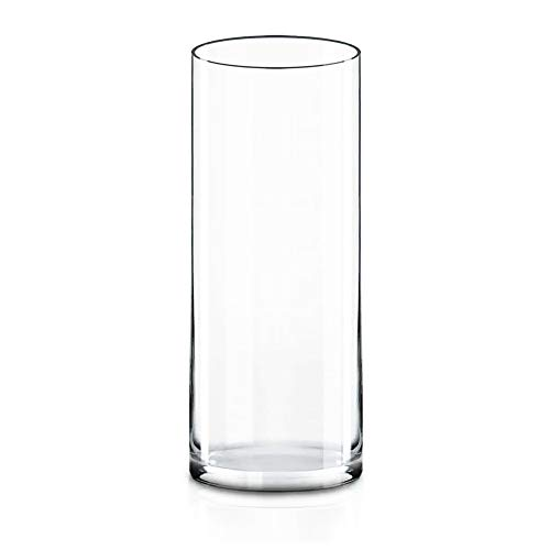 CYS Excel Clear Glass Cylinder Vase (H:12' D:4') | Multiple Size Choices Glass Flower Vase Centerpieces | Hurricane Floating Candle Holder Vase