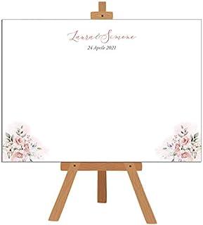 Tableau de mariage - pannello rigido di base per matrimonio fiori rose acquerello