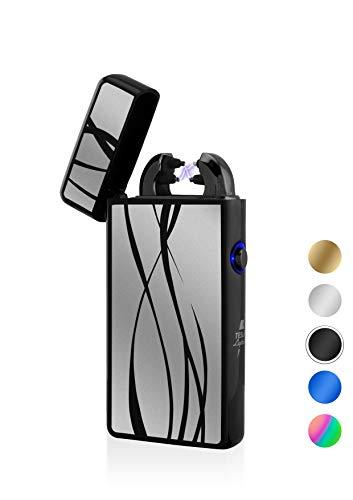 TESLA Lighter T08 Lichtbogen Feuerzeug, Plasma Double-Arc, elektronisch wiederaufladbar, aufladbar mit Strom per USB, ohne Gas und Benzin, mit Ladekabel, in edler Geschenkverpackung, Schwarz Linien