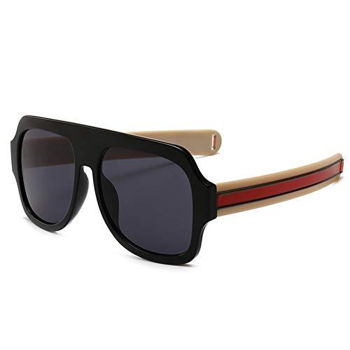 DINGZH-HANGZH Modelos de explosión Templos de línea Gruesa Gafas de Sol cuadradas Grandes Gafas de Sol Hipster Retro Round Sunglasses (Color : C4 Black Frame Yellow Leg Full Gray)