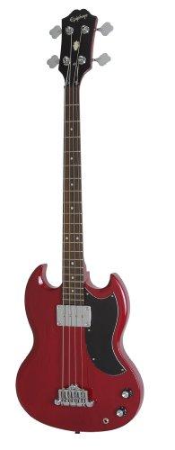 Epiphone EB-0 Elektrische Bass-Gitarre (Kirschrot lackiert, Mahagoni Korpus und Hals, SG Form)