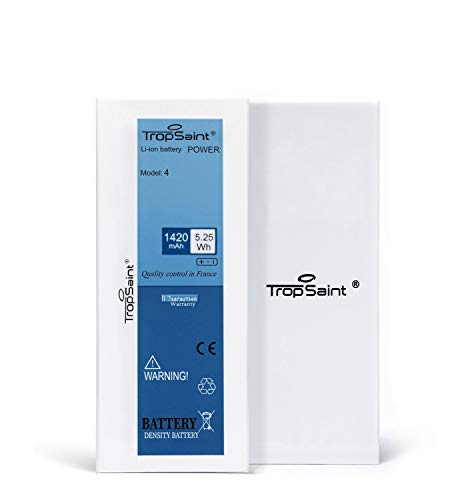 Trop Saint® Batterie Interne pour iPhone 4-1420mAh/3.8V - Kit de Réparation avec Outils, Adhesifs et Verre Trempé