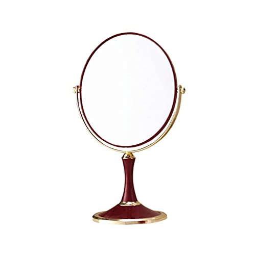 LHSUNTA Espejo, baño, montado en la Pared, tocador, Espejo de Maquillaje de Escritorio Espejo Grande de Doble Cara Espejo de tocador de Princesa Rojo, Ovalado
