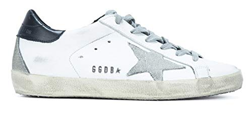 Golden Goose Damen Sneakers Leder Super Star Frances Casual Sport Schuhe, Navy Blue-Metal - Größe: 39 EU