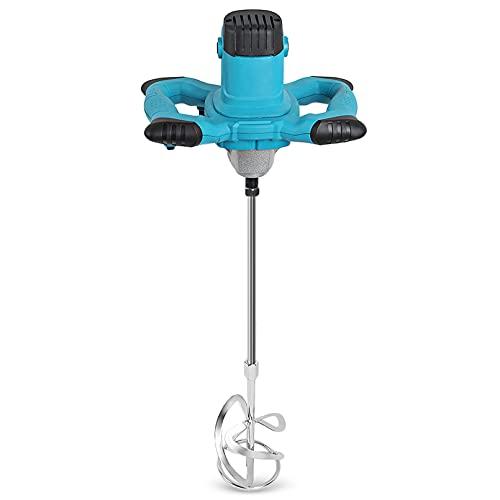 HXFYJ Mezclador de Paleta eléctrico 1800W Agitador de Pintura de hormigón de Mano Herramienta de agitación Ajustable de 6 velocidades para Mezclar mortero de Yeso Pegamento Cemento Lodo,Blue