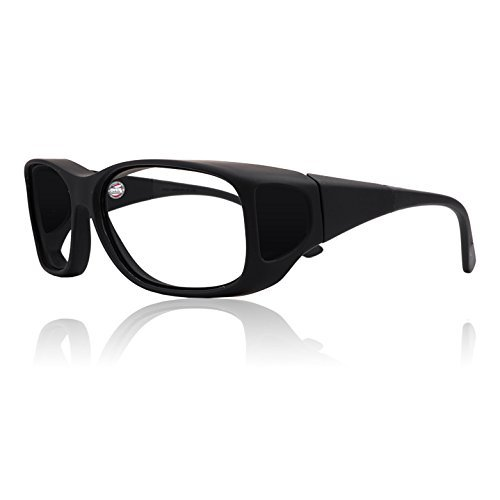 Fitover Black Lead Glasses Radiation Protection | Permanent Leaded Side Shield Protection | AR Anti-Reflective Fog Free Lens Coating