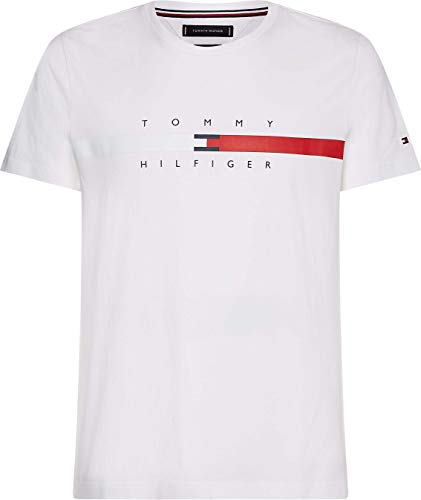 Tommy Hilfiger Global Stripe Chest Tee T-Shirt, Bianco, S Uomo