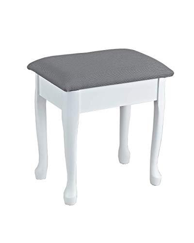 ASPECT Lilien-Schminktisch-Hocker mit gepolstertem Sitz und Stauraum, Holz, grau/weiß, 43W x 30D x 48H cm