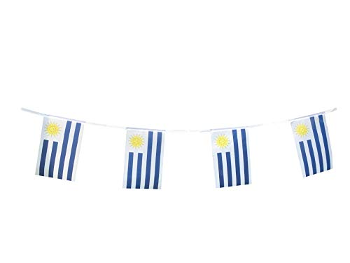Uruguay Flags Uruguayan Small String Flag Banner Mini National Country World Flags Pennant Banners For Party Events Classroom Garden Olympics Festival Grand Opening Bar Sports Decorations (Uruguay)