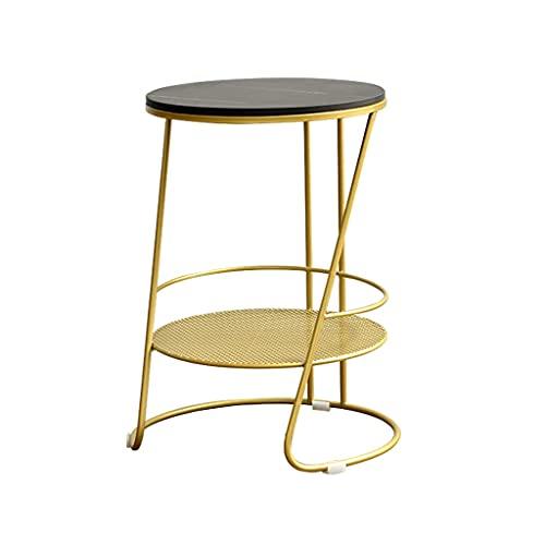 Lucky star 2-poziomowe małe okrągłe stoliki kawowe marmur blat sofa stolik pomocniczy prosty salon balkon stolik telefoniczny (kolor: czarny)