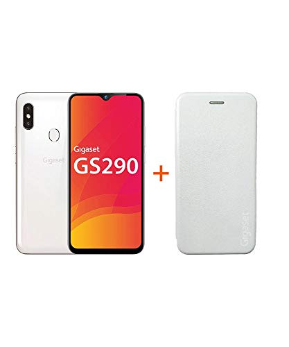 Gigaset GS290 Smartphone (16,0 cm) – Cámara frontal de 16 MP, Android 9 Pie, 64 GB de memoria interna, 4 GB de RAM – Pearl White+ Extra Hardcover funda