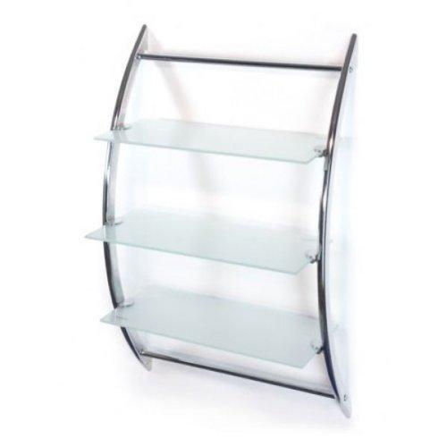 Badregal - Wandregal - Hängeregal- Glasregal - mit 3 Ablagen aus Glas (Frostglas / Milchglas) -...