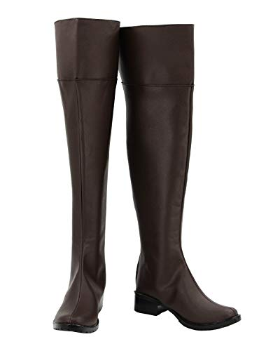 Allten Womens Attack on Titan Eren Mikasa Brown High Boots Shoes Cosplay Costume (5 M US Female)