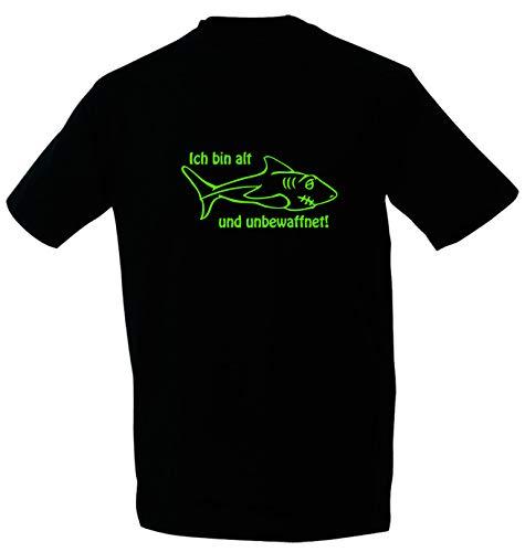 Kreativ-Shop! Taucher-T-Shirt Der Hai - alt & unbewaffnet| Frontdruck | Größe: L | Folienfarbe: grün