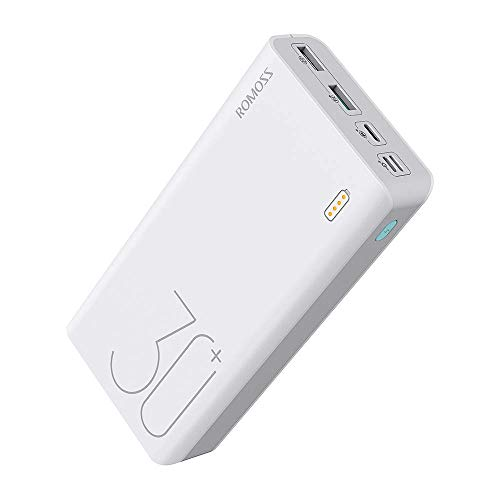 Romoss 18W Power Bank 26800 mAh, Bateria Externa Movil PD, QC 3.0 con 3 Salidas(5V 3.1A) y 3 Tipos de Entradas(Type C, L i g h t i n g, Micro USB),Cargadore Portátile Rapida para Móviles y Tabletas