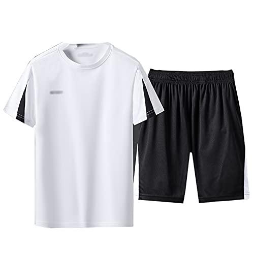 GOLOFEA Conjuntos de Traje de vía de Ocio para Hombres, Camiseta Superior de Manga Corta y Pantalones Cortos de Jogger Conjunto de Jogging de Secado rápido M