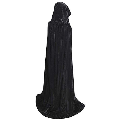 JYOHEY Umhang Schwarz Rot Samt Umhang Lang Mit Kapuze Umhang Für Halloween Kostüm Zauberer Vampir Kostüm Erwachsene Unisex
