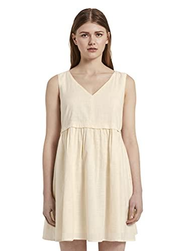 TOM TAILOR Denim Damen Rückenleiste Kleid, 22515-Soft Creme Beige, M