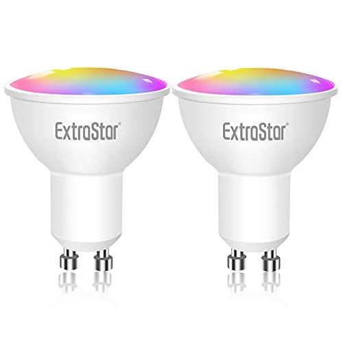 Bombilla LED Inteligente WiFi,Extrastar 2 Pack 6W GU10 Bombilla LED Luces Cálidas/Frías & RGB, Lámpara WiFi Funciona con Alexa (Echo, Echo Dot) Google Home