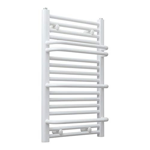 MTX-Racks handdoekwarmer, thermostaat, elektrische handdoekdroger, wandhouder, handdoekwarmer, radiator, wiel voor badkamer, 750 x 450 mm, wit modern design