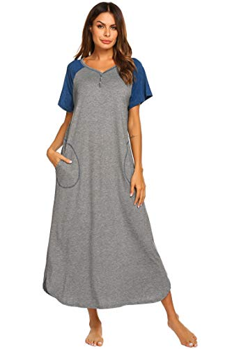 Ekouaer Women's Nightgown Christmas Night Shirt Lounge Dress (Grey Blue, X-Large)