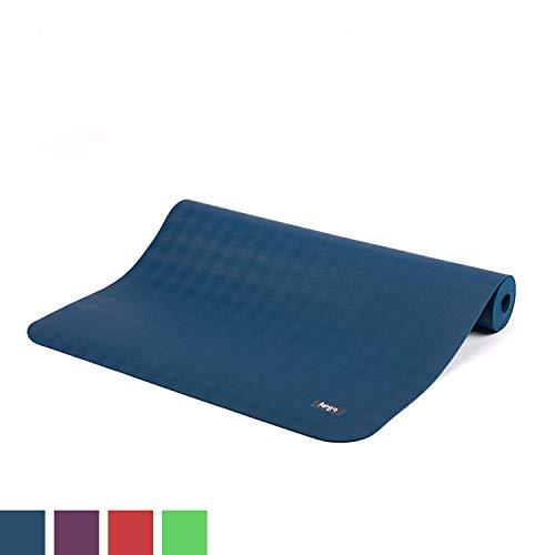 BODHI extrem rutschfeste Yogamatte ECOPRO aus 100% Natur-Kautschuk (185x60cm, 4mm stark, 1,6kg), schadstofffrei für Yoga, Pilates & Fitness, blau