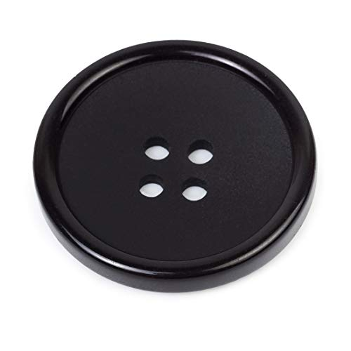 Black Button 0.8 Inches Buttons Sewing Flatback 32L 4-Hole Plastic Button Black Coat Buttons Black Colored Pack of 10