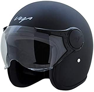 Vega Jet Open Face Helmet (Dull Black, M)