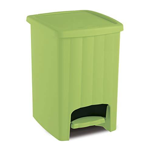 Treteimer 20 L Liter Grün Mülleimer Abfalleimer mit Pedal 30x26x39cm Klein Müllbehälter Müllsammler Abfallkorb Mülltonne Deckel Badeimer Kunststoffeimer Waschbar Tritt Eimer Deckeleimer Müll Trennung
