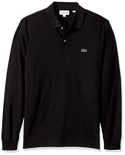 Lacoste Mens Long Sleeve Interlock Pima Regular Fit Polo Polo Shirt, Black, XL