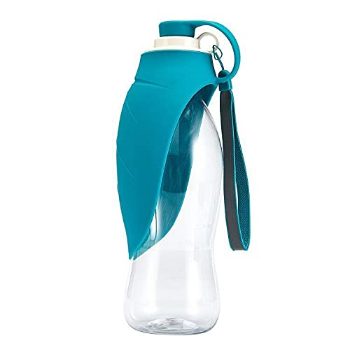 Hunde Wasserflasche 580ML Tragbar Haustier Travel Hundetrinkflasche für unterwegs Silikon Trinkflasche Hund für Camping Spaziergang Wandern Training Unterwegs Outdoor (Blau)