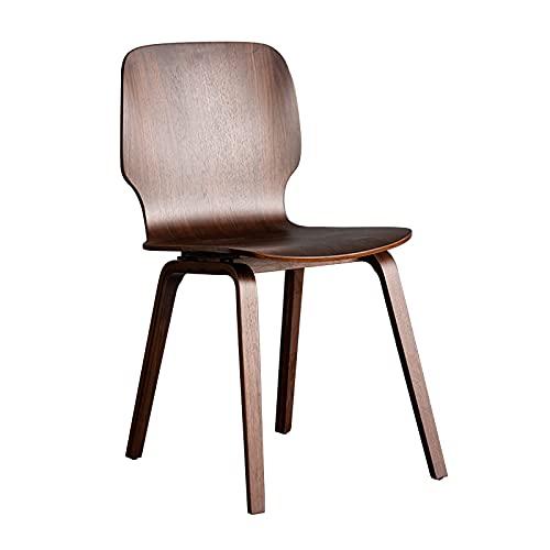 Silla de comedor de diseñador, silla lateral con respaldo vintage para el hogar, silla decorativa de madera maciza completa para el salón de recepción del restaurante en casa, color nogal