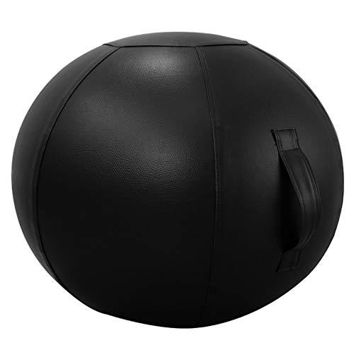 バランスボール シーティングボール 65cm レザー カバー 付き ボールチェア ハンドル付き 【aereo di carta】 (マットブラック)