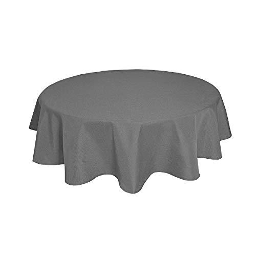 Tischdecke Leinenoptik Leinen Lotuseffekt Wasserabweisend Lotus Rund Ø140 Grau