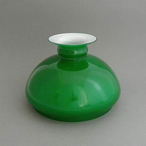 Vestaglas aussen grün, innen weiss, Durchmesser 18,7 cm, Ersatzglas, Lampenschirm aus Glas für Petroleumlampe, elektrische Tischleuchte